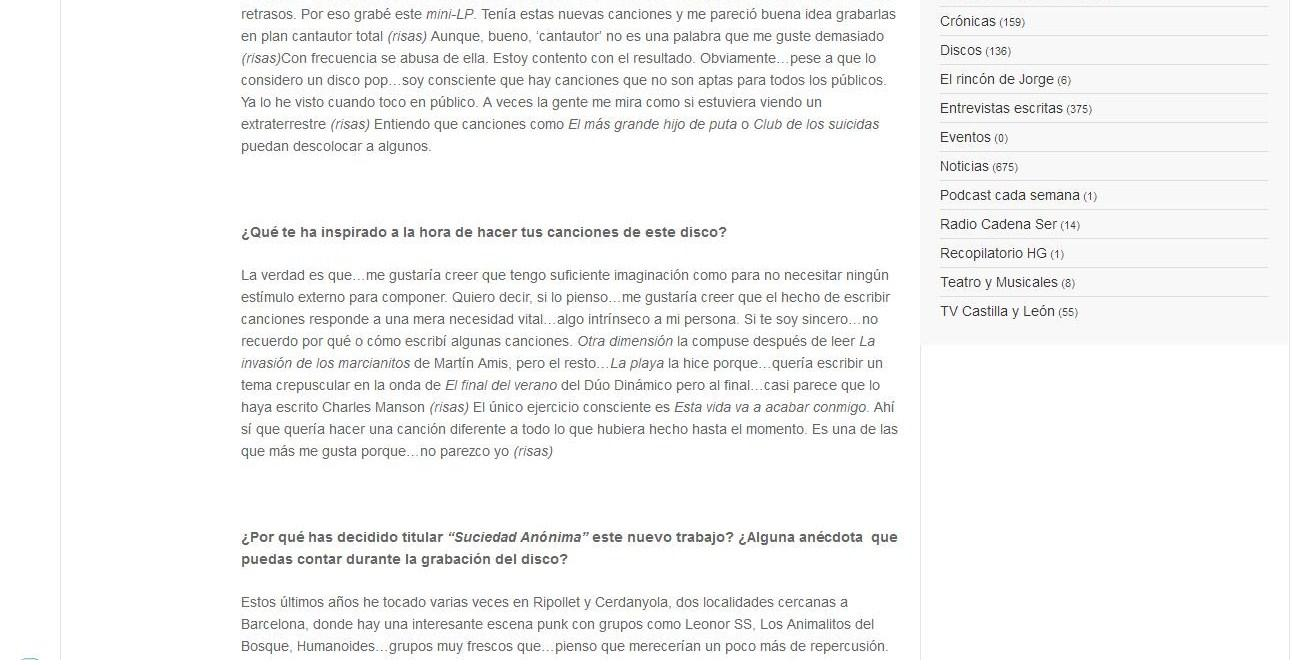 El Blog De Dino Ratso Prensa Entrevista En La Web Musical