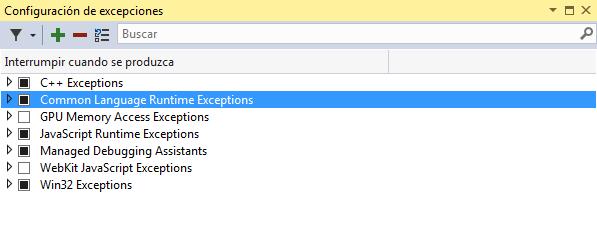 Nueva ventana de Configuración de Excepciones