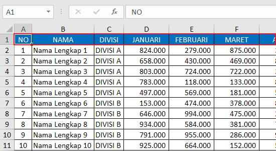 Cara Freeze Panes Baris Pertama Excel 1