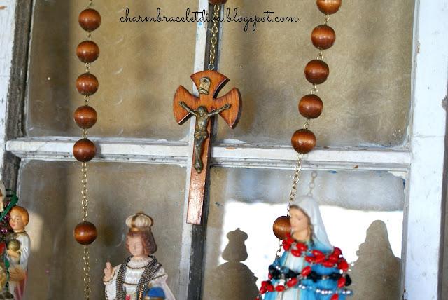 vintage oversized rosary wall art