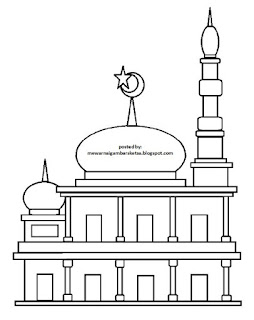 Gambar Sketsa Mewarnai Masjid Terbaru 201717