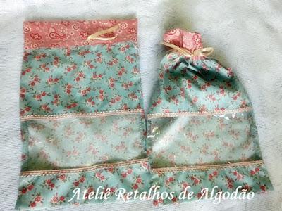 Kit de saquinhos e necessaire organizadores para viagem tecido floralgem