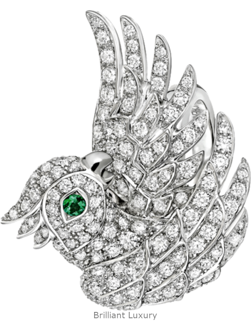 Brilliant Luxury♦Boucheron Paris Nuri Cockatoo diamonds ring