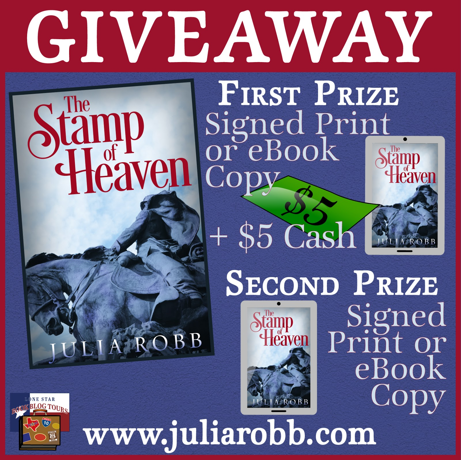 The Stamp of Heaven giveaway graphic