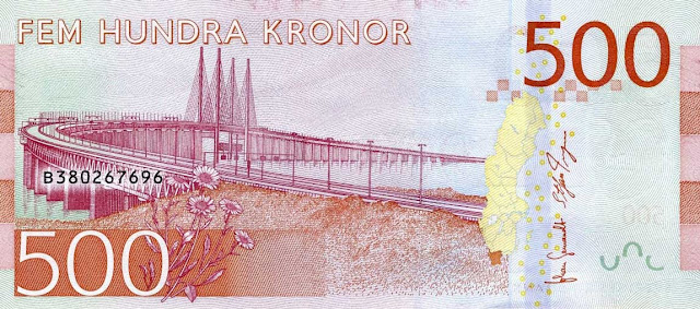 Swedish Currency 500 Krona banknote 2016 Öresund Bridge between Malmö and Copenhagen