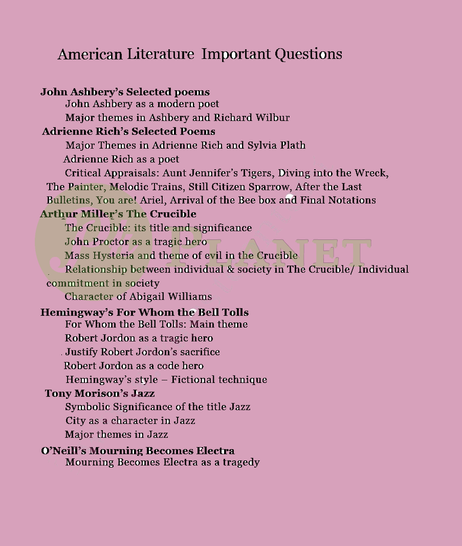 MA English American Literature Guess Paper