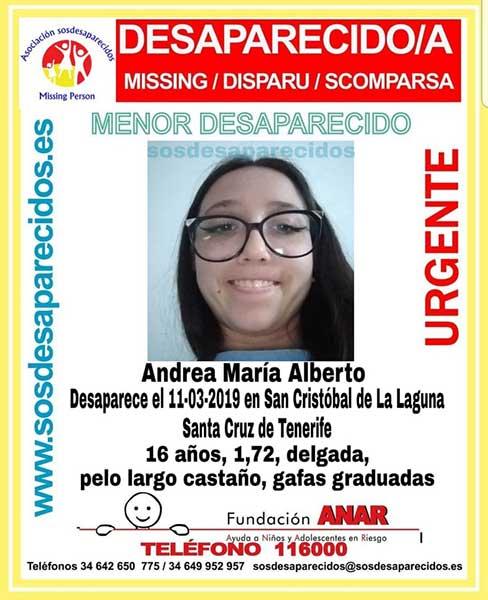 desaparición de la menor Andrea María, 16 años, en San Cristóbal de La Laguna, Tenerife
