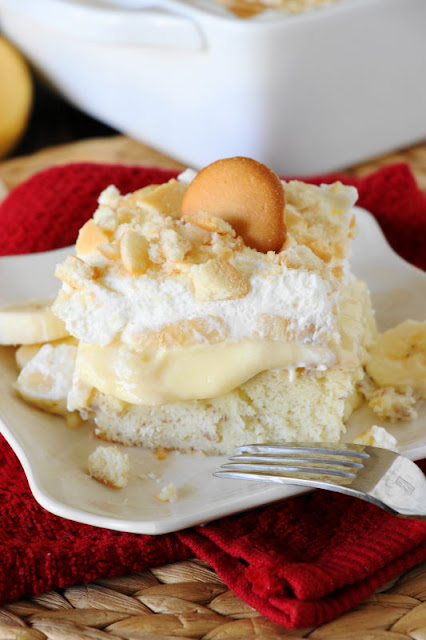 cake filled with banana pudding mixture