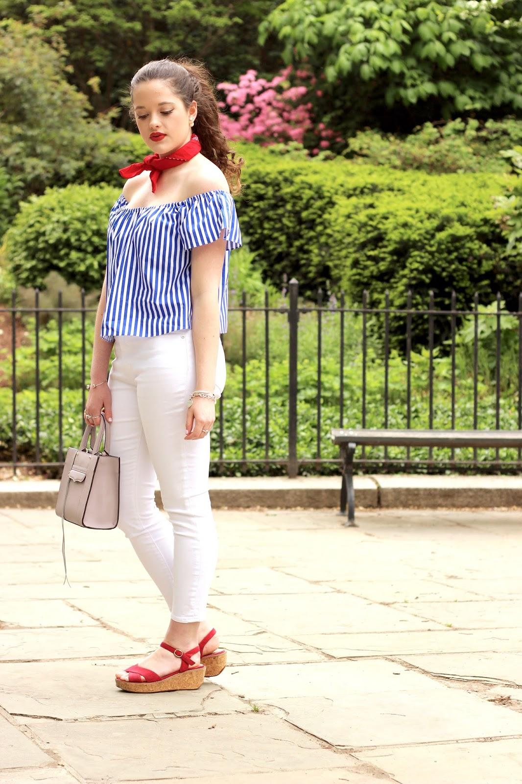 fashion blogger bandana around neck