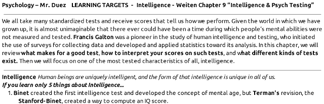 AP Psychology with Mr  Duez: 6 1:IQ-TESTING