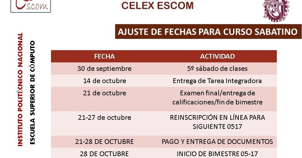 Celex escom calendarios for Html table th 2 rows