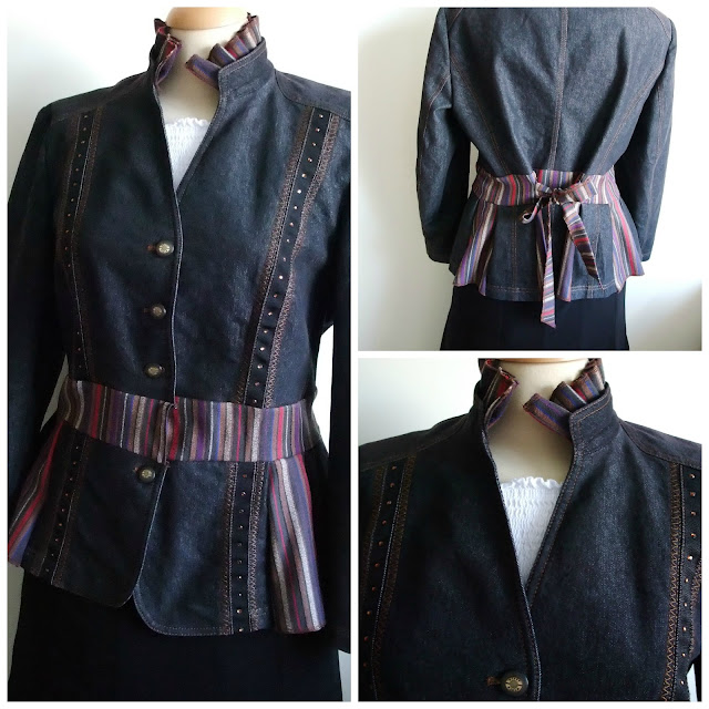 Denim peplum jacket upcycled by Karen Vallerius