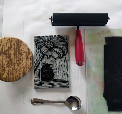 ink brayer barren spoon tools for relief printing by hand