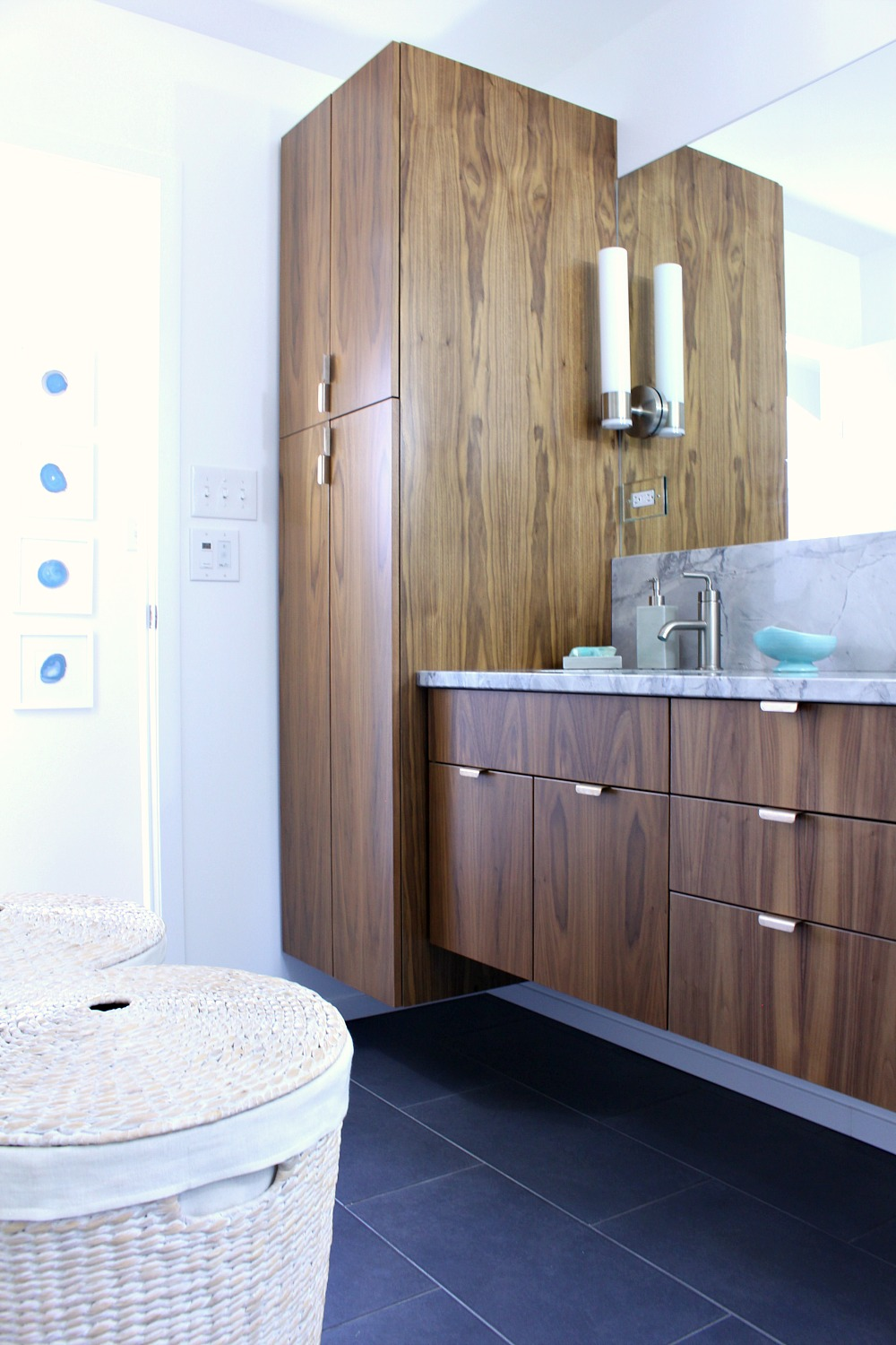 Fabulous Mid Century Modern Inspired Bathroom Renovation Before After Floating Walnut Vanity