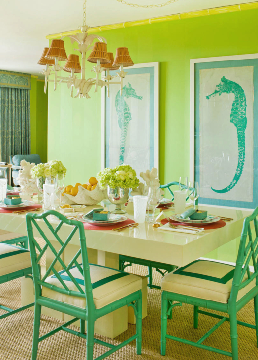 Green Palm Beach Style Dining Room