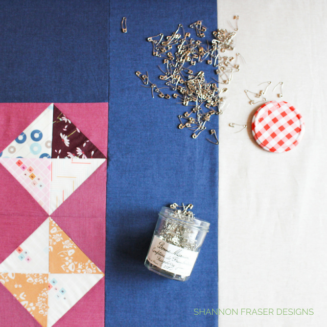 Quilt Basting | Shannon Fraser Designs | Pin Basting | Modern Quilt | Bonne Maman Jam Jar | Recycle | Kaffe Fasset Shot Cotton | Essex Linen | Playground from Art Gallery Fabrics