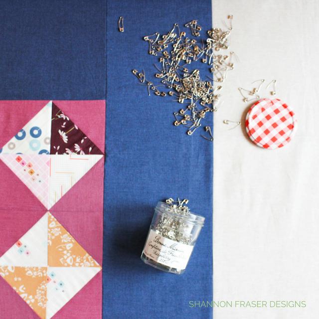 Quilt Basting | Shannon Fraser Designs | Pin Basting | Modern Quilt | Bonne Maman Jam Jar | Recycle | Kaffe Fasset Shot Cotton | Essex Linen | Playground from Art Gallery Fabrics