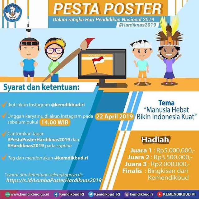Lomba Poster Kemendikbud Hardiknas 2019 Untuk Umum Gratis