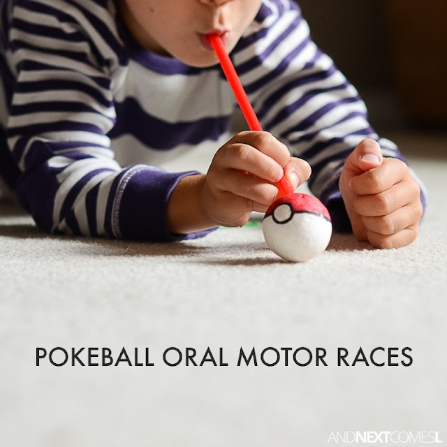 Oral motor sensory activity for kids inspired by Pokemon from And Next Comes L