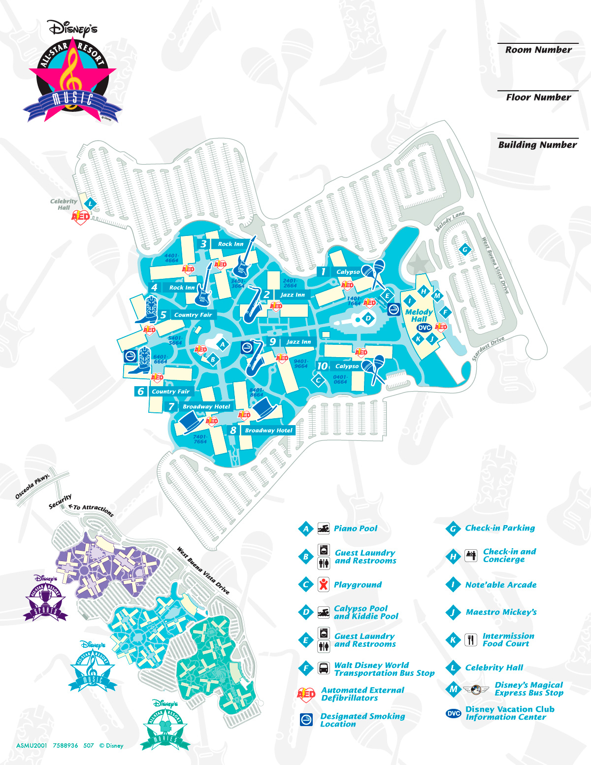Mapa Disney's All Star Music.