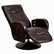 Brown Leather Massaging Recliner