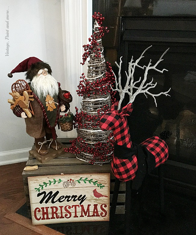 Vintage, Paint and More... a rustic Christmas vignette done with an old world Santa, a grapevine tree, and a buffalo plaid deer