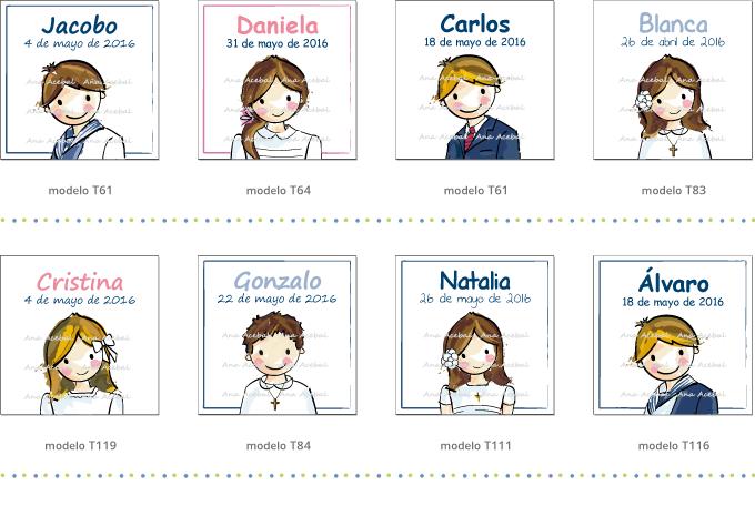 Modelos etiquetas Comunión personalizadas originales regalos