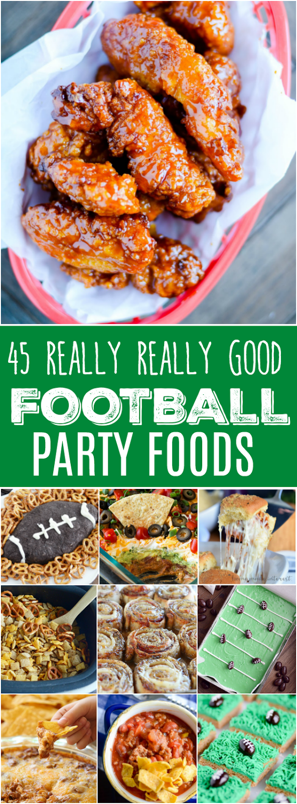 Tons of game day party food ideas like Chili Cheese Dip, Carne Asada Fries, Football Puppy Chow, and a Football Cookies & Cream Cheeseball!