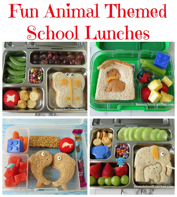 4 Cute Animal Themed Lunches created with the lunch punch critter set. Butterfly, Dog, Elephants, Dolphins