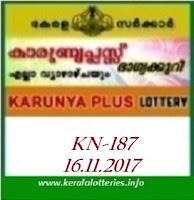 KARUNYA PLUS (KN-187) LOTTERY ON NOVEMBER 16, 2017