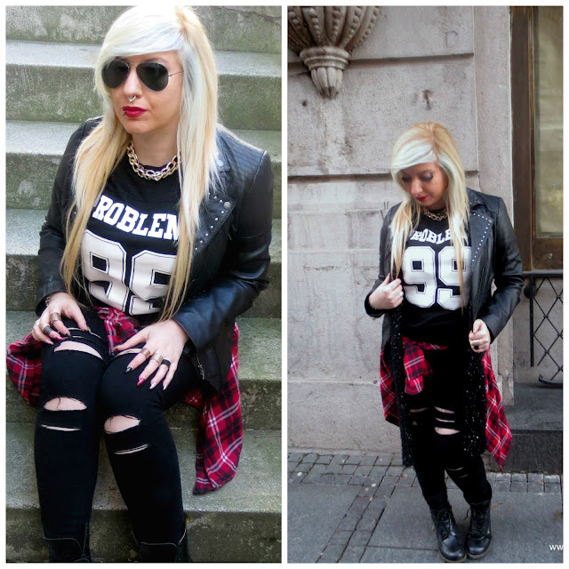 girl fashion alternative grunge spring leather ripped plaid outfit