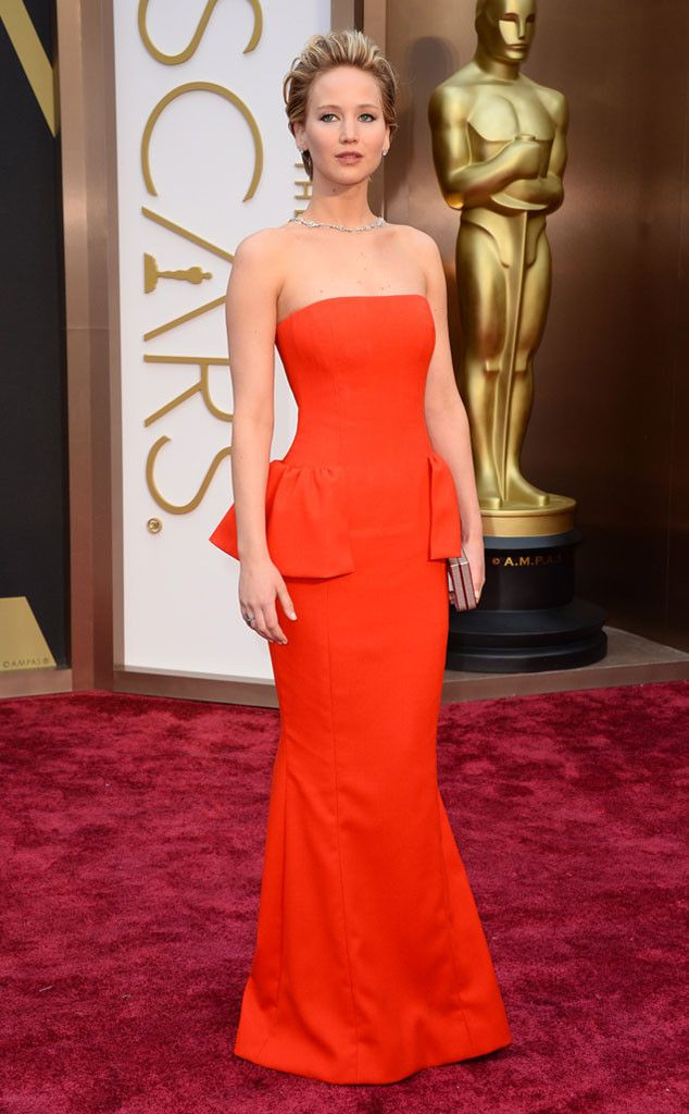 Jennifer Lawrence in a red Dior frock at the Oscars 2014