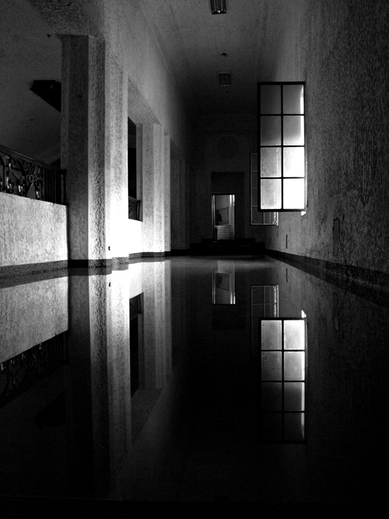 Flooded hallway of deserted theater on the second floor. (Photo by Bernard Eirrol Tugade)