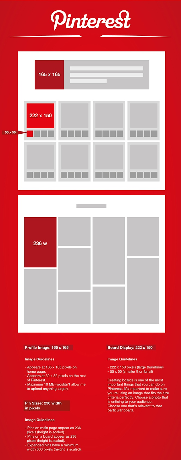 The Photo and Image cover Sizes on Pinterest
