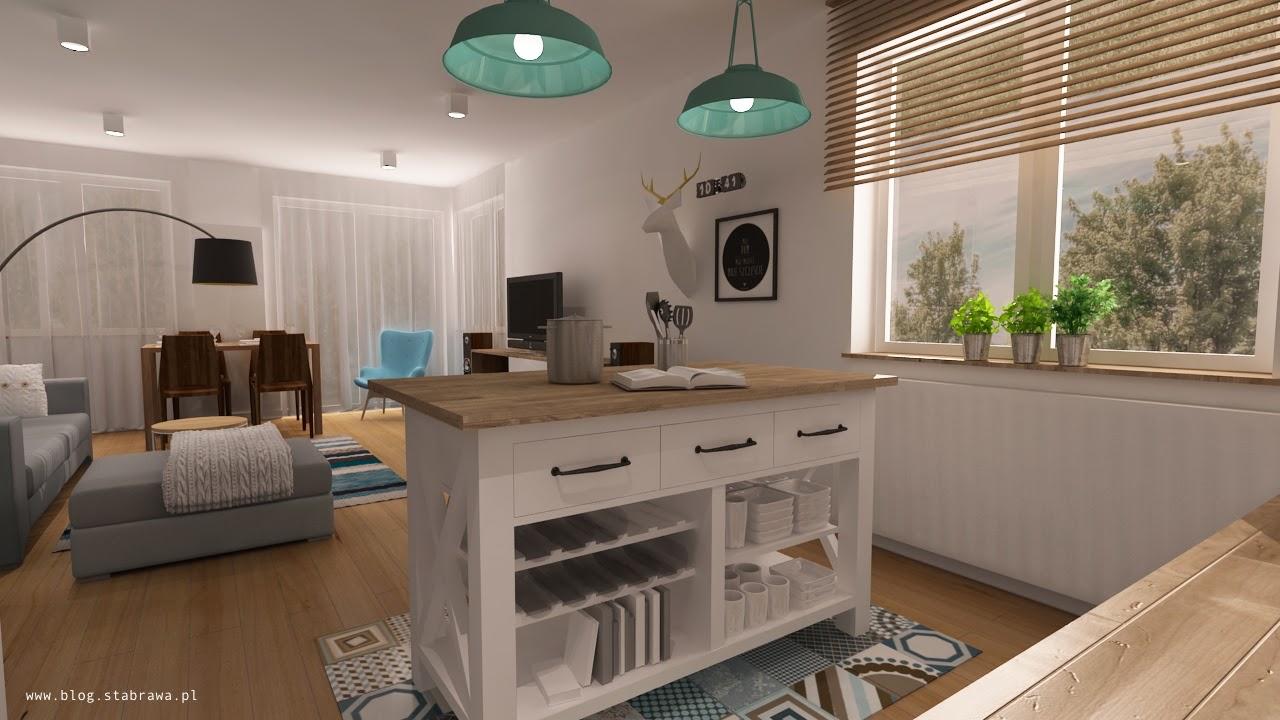 wnętrze skandynawskie, kuchnia, kuchnia nowoczesna, wyspa kuchenna, lampa loft, płytki mozaika