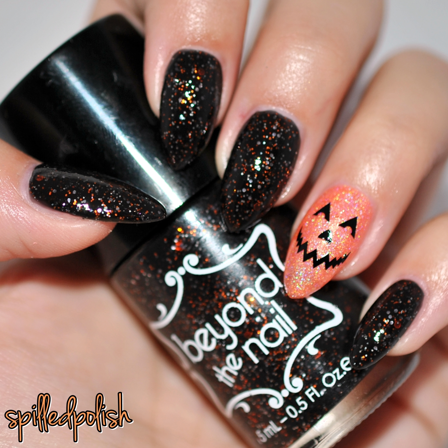 spilledpolish: More Pumpkin Face Halloween Nails!