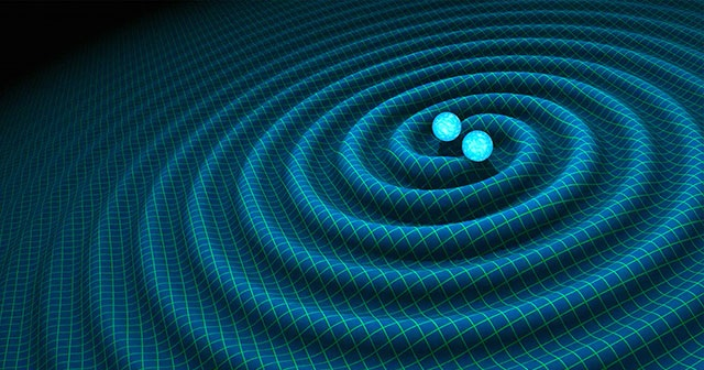 Visualization of the gravitational wave emission from a pair of orbiting compact objects. Credit: NASA