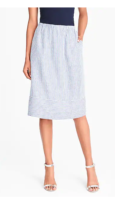 J Crew Midi Stripped Skirt