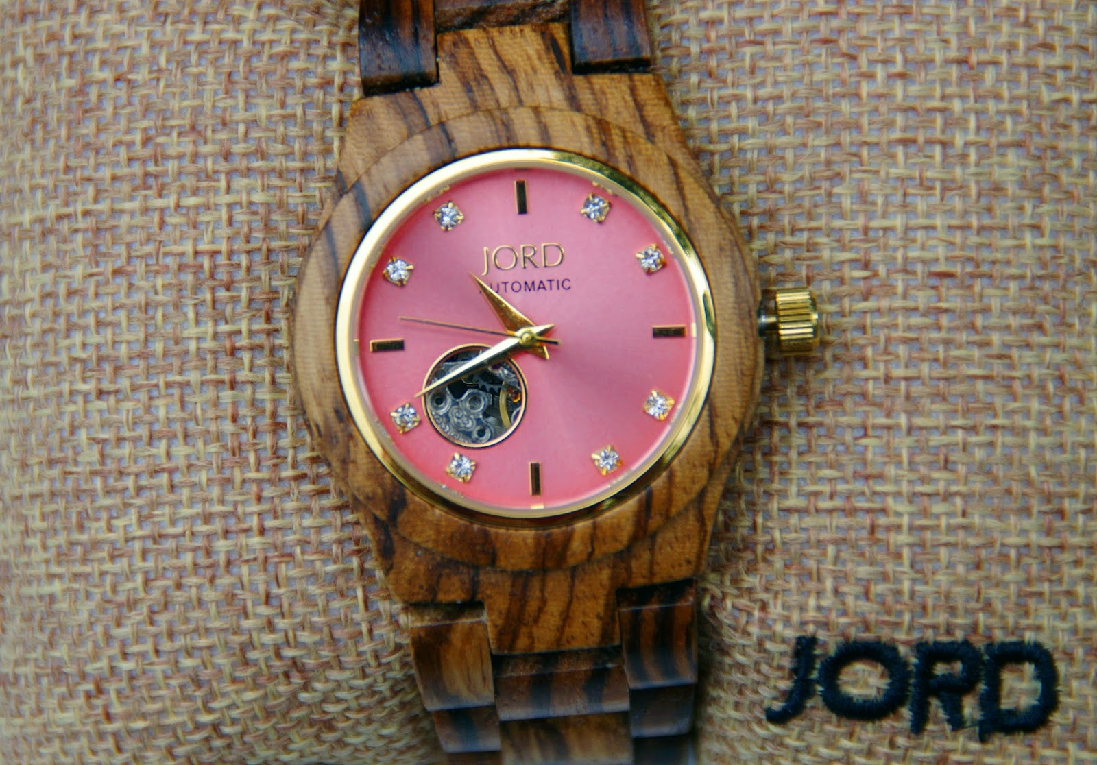 JORD Wood Watches Cora Zebrawood & Rose Watch