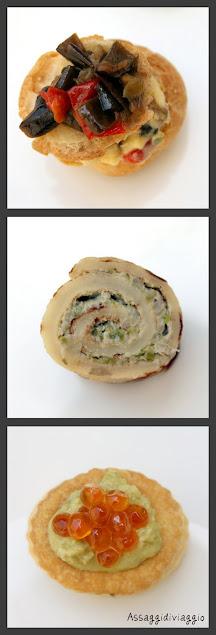 bignè crema pasticcera salata e verdure, Rotolino di crespella e fave, vol-au-vant mousse di asparagi, mela e uova di salmone