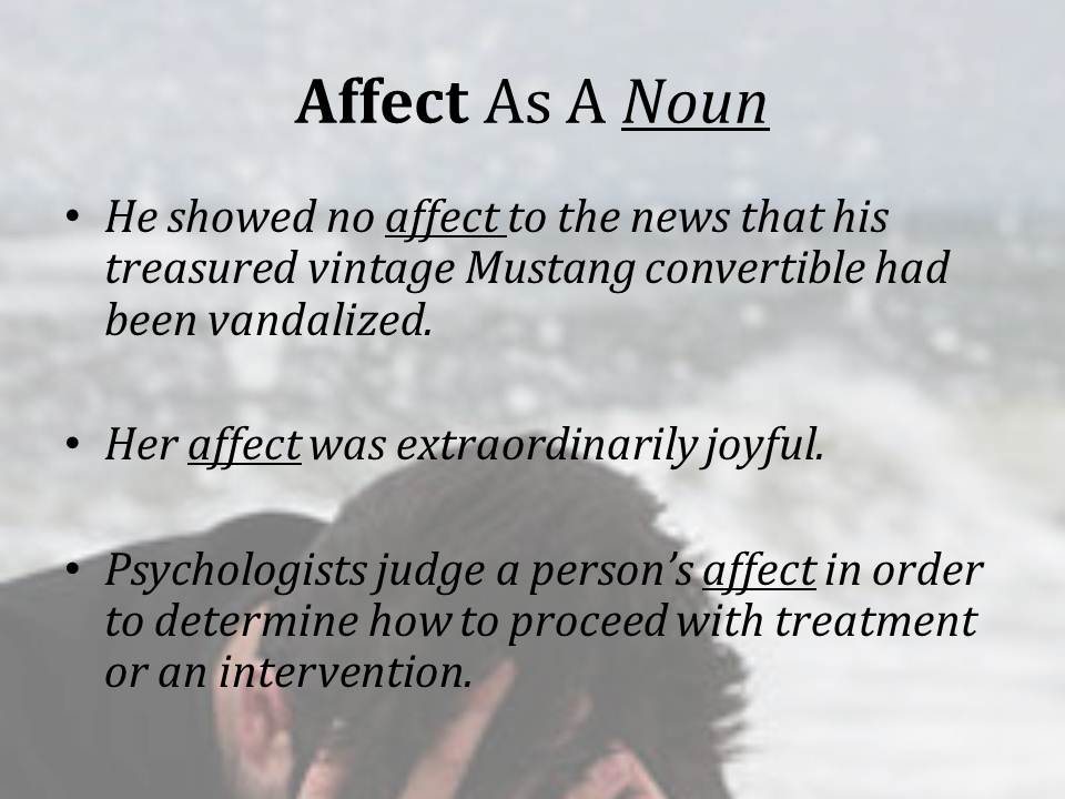Writing in the Behavioral Sciences: Affect or Effect: Words Easily Confused
