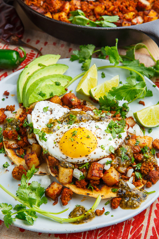 Chorizo and Potato Tostadas with Fried Eggs