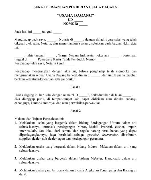 Contoh Surat Perjanjian Pendirian Usaha Dagang Yang Resmi Format Word