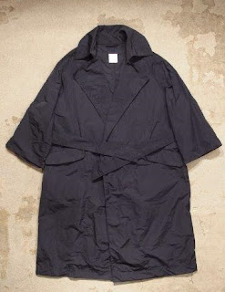 "TOUJOURS ""Oversized Wide Sleeve Wrap Coat in Navy High Count Pe/Silk Cloth"""