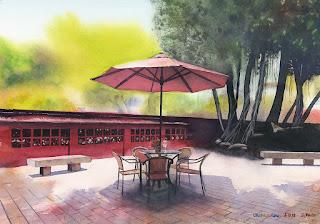 水彩画 Chikanlou / 赤崁樓(せきかんろう、Provintia)Watercolor