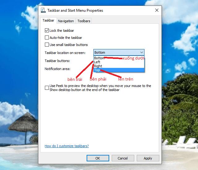 Hướng dẫn đưa taskbar lên trên hoặc sang trái hoặc phải
