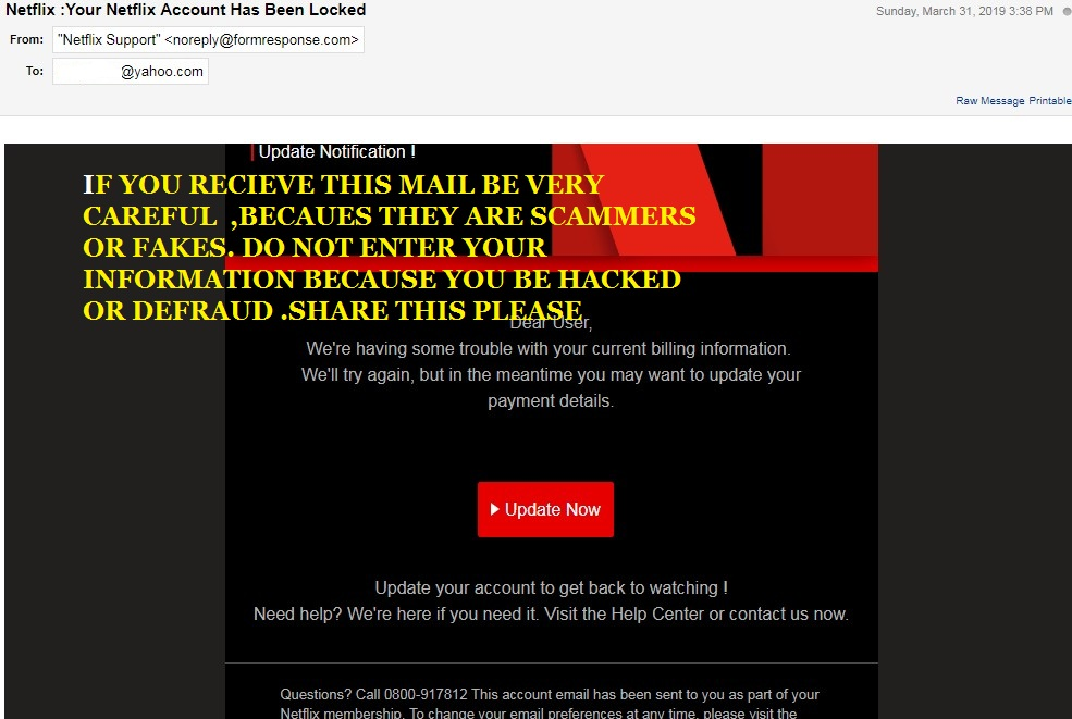 Read fraudulent email or text message appears to be from