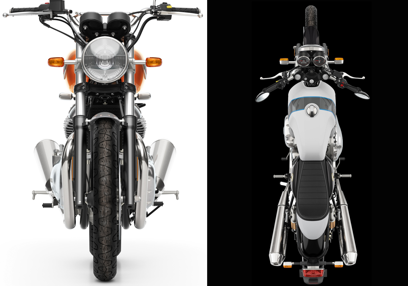 Two motorcycles side by side, one black background, one white.