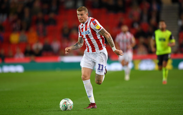 James McClean of Stoke City during the Carabao Cup Second Round match between Stoke City and Huddersfield Town at Bet365 Stadium on August 28, 2018 in Stoke on Trent, England
