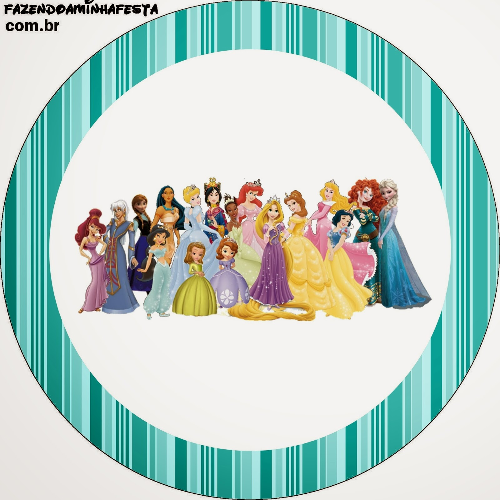Toppers o etiquetas de Todas las Princesas Disney para imprimir gratis.